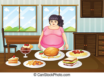 A fat lady in front of a table full of foods