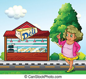 Illustration of a fat lady in front of the deli store