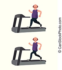 A fat man runs on a treadmill and loses weight. Vector...