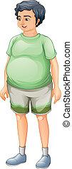 A fat man standing