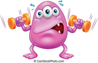 A fat pink monster exercising - Illustration of fat pink...