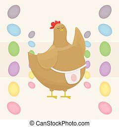 a fat, pot-bellied brown chicken, the mother teaches by raising her wing, in a light pink apron with an egg on a light background with colorful Easter eggs