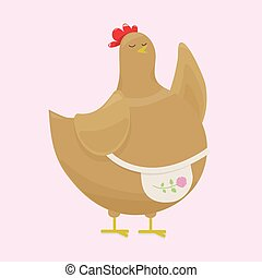 A fat pot bellied brown hen, mother teaches by raising her wing, in a light pink apron with a rose flower on a light gentle pink background