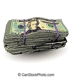 A fat stack of 20 dollar bills