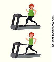 A fat woman is running on a treadmill and losing weight.