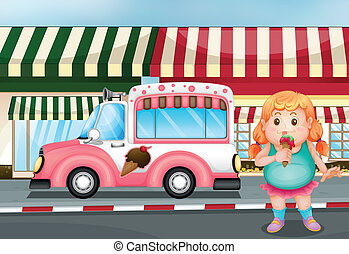 A fat young girl eating icecream