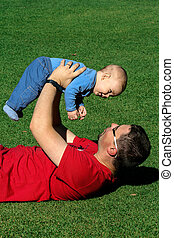 A father and a son enjoy happy time