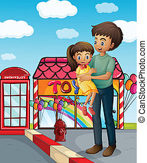 A father and his child near the toy store - Illustration of...