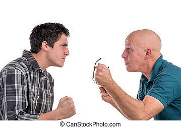 A father and son are angry on the white background