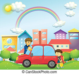 A father and son cleaning the red car - Illustration of a...