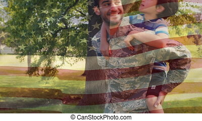 A father and son with American flag in the background