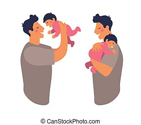 A father hugs and takes care of his child. Cute daddy is playing with his son. Happy dad holds daughter in his arms and smiles. Flat vector illustration isolated on white background.