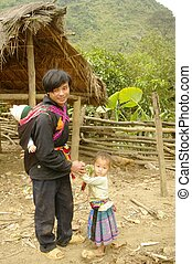 An Phu La ethnic father and daughter in the village