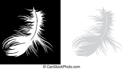 A feather alone - Single white vector feather on black...
