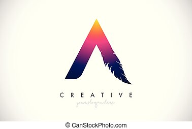 A Feather Letter Logo Icon Design With Feather Feathers Creative Look Vector Illustration