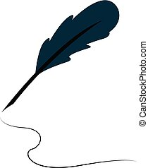A feather quill pen, vector color illustration.