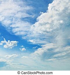 a, fehér, cumulus felhő, ellen, a, kék ég