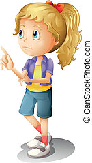 A female accusing  - Illustration of a blonde girl thinking
