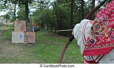 A female archer shot the target