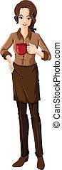 A female barista - Illustration of a female barista on a...
