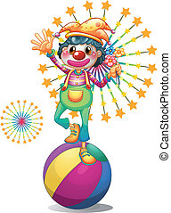 A female clown above the colorful ball