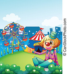A female clown pointing the carnival