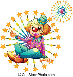 A female clown with fireworks
