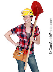 A female construction worker.