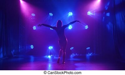 A female dancer in a black bodysuit performs emotionally touching dance elements of modern choreography in the rays of blue light. A graceful young woman dances contemp flawlessly in a dark smoky studio. Silhouette. Slow motion.