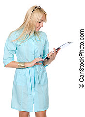 A female doctor with a folder, standing