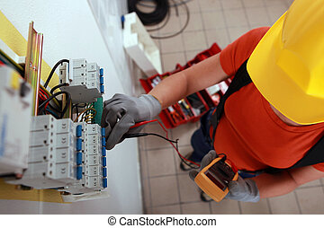 a female electrician working