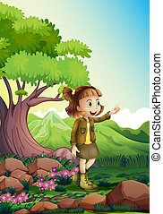 A female explorer at the rocky forest