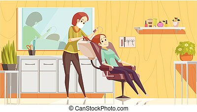A female hairdresser wearing face mask and haircut client, making haircut using metal scissors and comb. New Normal conaept. Hand drawn in thin line style
