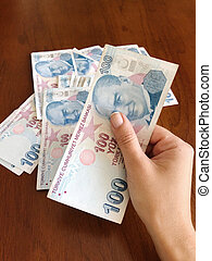 female hand holding hundred turkish lira