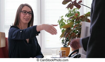 A female job recruiter ends job interview by shaking hands with her applicant