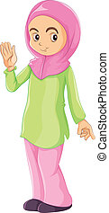 A female Muslim - Illustration of a female Muslim on a white...