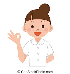 A female nurse showing ok - Nurse or young medical doctor ...