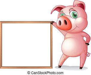 A female pig beside an empty wooden frame