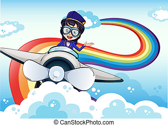 Illustration of a female pilot driving the plane and a rainbow in the sky