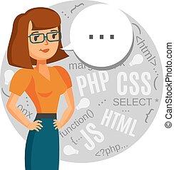 A female programmer, computer geek, coder, support call center