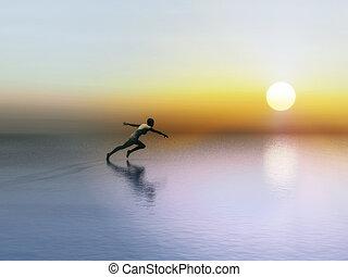 A female runner in the rising sun