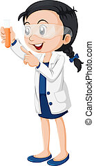 A female scientist - Illustration of a female scientist on a...
