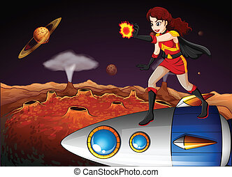 A female superhero at the galaxy standing above the spaceship