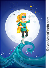 A female superhero near the fullmoon