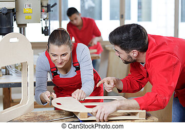 a female working in workshop