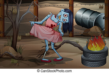 A female zombie near the flaming tires