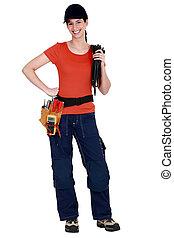 a, femme, electrician.