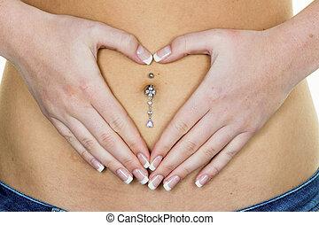 a, femme, estomac, elle, mains