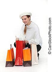 a, femme, shopping.
