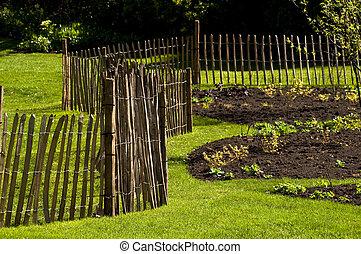A fence in a garden